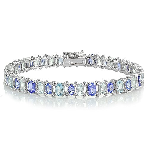 Sterling Silver Tanzanite, Aquamarine and White Topaz Oval Tennis Bracelet by Ice Gems