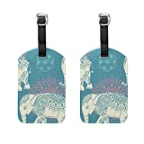 Set of 2 Luggage Tags Elephant Africa Art Suitcase Labels