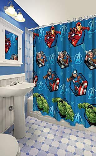 c Shower Curtain Set 12 Matching Hooks (Avengers) ()