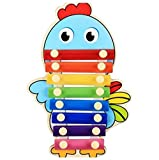 Polymer Musical Toys 8-Tone Chinese Zodiac Infant Child Octave Clappers Piano Percussion(Chicken)