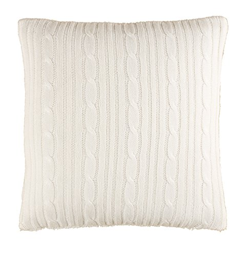 "Brielle Cozy Cable Knit Throw Pillow with Sherpa Backing, 18"" x 18"", Ivory - 1 throw pillow Throw pillow measures 18 by 18 inches Coordinates with Brielle cozy cable knit throws - living-room-soft-furnishings, living-room, decorative-pillows - 51GDOmcvCbL -"