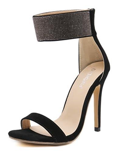 SHOWHOW Damen Sexy Plattform Offene Partyschuhe Fesselriemen Sandaletten mit Absatz Schwarz 39 EU kGD5zcoI