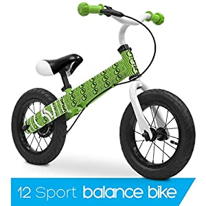"Balance Bike 12"" Metal Toddler Training Bicycle, Green Pattern"