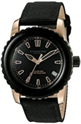 Stuhrling Original Women's 3265.02 Aquadiver Vector 23k Gold-Layered Date Luminous Watch with Black Canvas-Covered Leather Band
