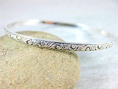 Sterling Silver Bangle Bracelet with Oxidized Vine and Leaf Pattern
