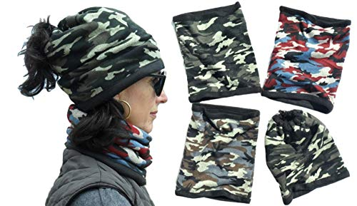 Top 4 Pack Camo Army Pattern Hat or Neck Warmer Gaiter for Hunters Men Stocking Stuffers for Adults Best Great Scarf Unique Themed Birthday Gift Idea Under 5 Dollars Him Dad Girlfriend Son 2019
