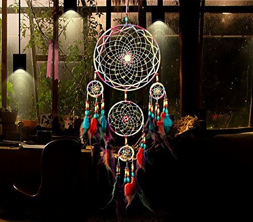 Feather Hanging Decor, Proboths Exquisite Manual Dream Catcher Colorful Feather Hanging Ornament for Home Office Wall