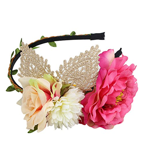 Auranso Paeony Lace Crown Flower Headpiece Hairpin Prom Party Handmade Fascinators Bridal Headband Rose Red