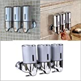 WHOSEE 500mlx3 Bottle Wall Mounted Liquid Soap Dispenser Bathroom Washroom Restaurant Shampoo Box Silver