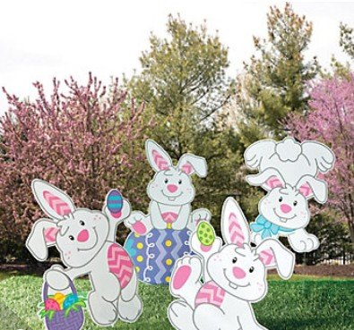 OUTDOOR EASTER EGG BUNNIES YARD SIGNS (4 PC)