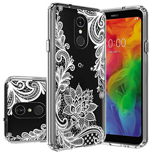 LG Q7 Case,LG Q7 Plus Case,LG Q7α Case Huness TPU Grip Bumper Clear Flower Transparent Hard PC Backplate Hybrid Slim Phone Case Cover LG Q7, LG Q7+,LG Q7α Phone (Clear (Flower Backplate)