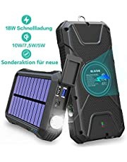 BLAVOR Schnelle Wireless Power Bank 20000mAh,18W Quick Charge 3.0&induktives Laden 10W/7.5W,Solar Ladegerät Verbessert Externer Akku,Tragbare Notfall-Energie mit Type-C Eingangsports,2 USB,LED-Lich