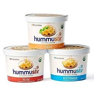 Organic Hummus (3 Pack)- Mixed Styles (Classic, Mediterranean, Village): No Preservatives.