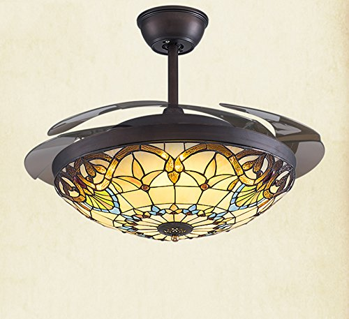 Yue Jia 42 Inch Promoting Natural Ventilation Black Invisible Fan Modern Luxury Dimmable (Warm/Daylight/Cool White) Chandelier Foldable Ceiling Fans With Lights Ceiling Fans with Remote Control by YUEJIA (Image #6)