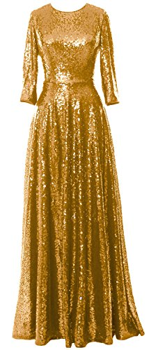Evening Sequin Sleeve Mother Gold Gown Elegant MACloth the Vintage of Dress Bride 4 3 xwCtFtXq