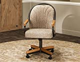 Caster Chair Company Bently Swivel Tilt Caster Arm Chair in Wheat Tweed Fabric For Sale