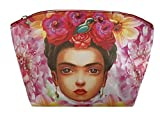 Mexican Frida Kahlo 100% Leather Cosmetic Bag (Model 4)