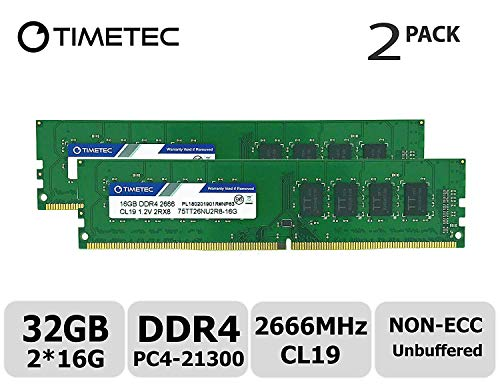 Timetec Hynix IC 32GB Kit (2x16GB) DDR4 2666MHz PC4-21300 Unbuffered Non-ECC 1.2V CL19 2Rx8 Dual Rank 288 Pin UDIMM Desktop Memory RAM Module Upgrade S Series (32GB KIT(2x16GB))