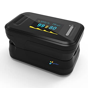 Fingertip Pulse Oximeter Blood Oxygen Saturation Monitor with Carrying Case  and Lanyard Batteries