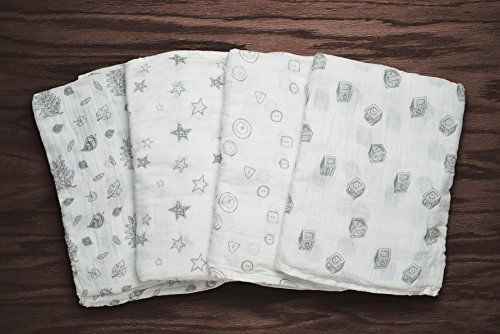 4 In 1 Cotton Muslin Receiving Blankets 4 Pack This