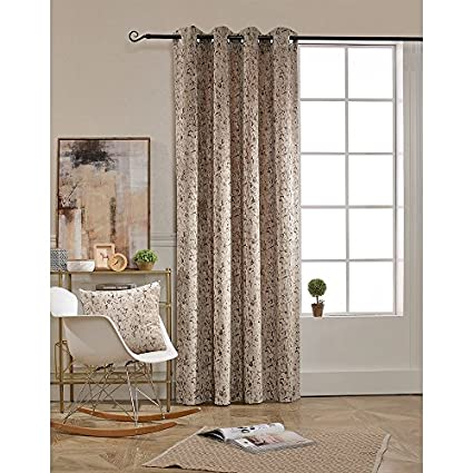 BOKO Chenille Grommet Window Panel Curtains 54 X 96 Inches For Bedroom
