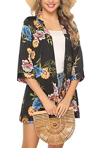 - Abollria Women 3/4 Sleeve Chiffon Casual Loose Kimono Cardigan Capes