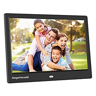 10 Inch Digital Photo Frame, RegeMoudal 1280800 IPS LCD Panel Smart Digital Picture Frame, Remote Control, Wall-Mountable, Portrait and Landscape, Support SD Card USB (Black)