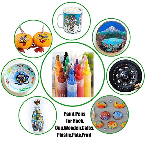 12 PCS Acrylic Paint Markers Paint Pens for Rocks, Wood, Metal, Glass, Plastic, Canvas, Ceramic, Photo Album, DIY Craft and School Project Works on Almost All Surfaces, Medium Tip Paint Pen 2-3mm
