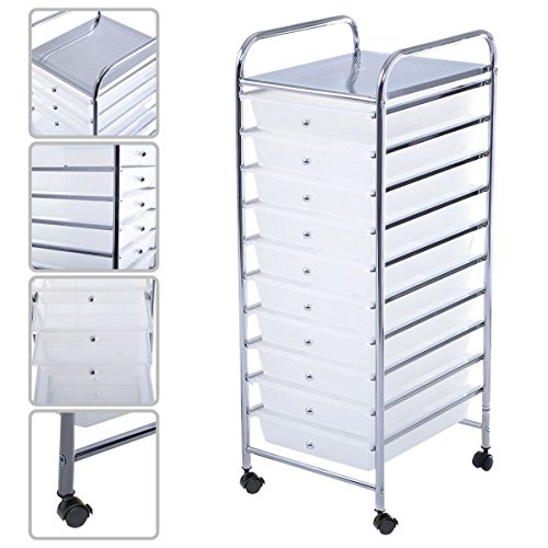 10 Drawer Rolling Storage Cart Scrapbook Paper Office School Organizer Clear Ideal For Storing Small Tools In Office, Home, School, Garage Chrome Plated Steel Frame