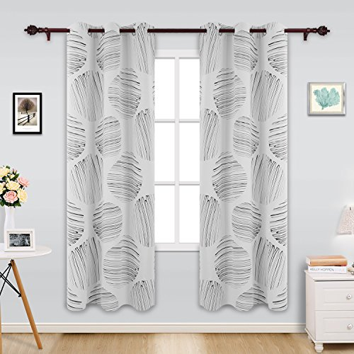 Deconovo Modern Style Circle Foil Print Curtains Grommet Curtains Blackout Curtains Thermal Insulated Curtains for Dining Room 42 x 84 Inch White 1 Pair (1 Window Blinds 2 Circle)