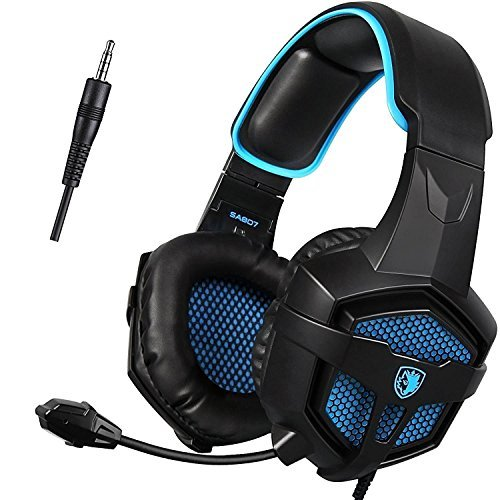 (SADES SA807 3.5mm Wired Multi-Platform Stero Sound Gaming Headset Over Ear Gaming Headphones with Mic Volume control for New Xbox one/PS4/PC/Laptop/Mac/iPad/iPod (Black&Blue))