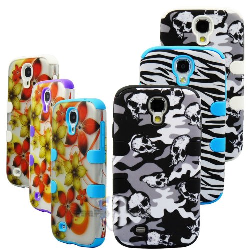"""myLife White - Camouflage and Skulls Design (3 Piece Hybrid) Hard and Soft Case for the Samsung Galaxy S4 """"Fits Models: I9500, I9505, SPH-L720, Galaxy S IV, SGH-I337, SCH-I545, SGH-M919, SCH-R970 and Galaxy S4 LTE-A Touch Phone"""" (Fitted Front and Back Solid Cover Case + Internal Silicone Gel Rubberized Tough Armor Skin)"""