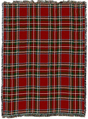 Pure Country Weavers | Stewart Royal Plaid Tartan Woven Tapestry Throw Blanket with Fringe Cotton USA 72x54