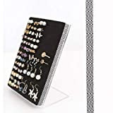 Stud or Post Earring Holder - Acrylic Earring Stand - Black & White Chevron Ribbon - Earring Organizer