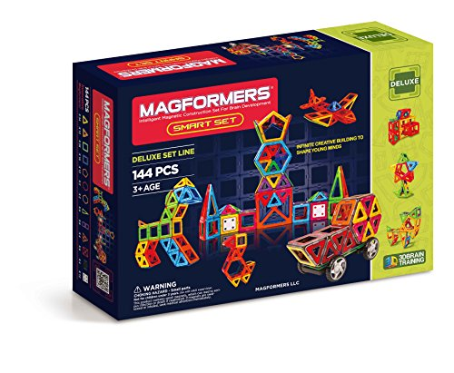 Magformers Smart Set (144-piece), Deluxe Building Set. magnetic building blocks, educational magnetic tiles, magnetic building STEM toy set