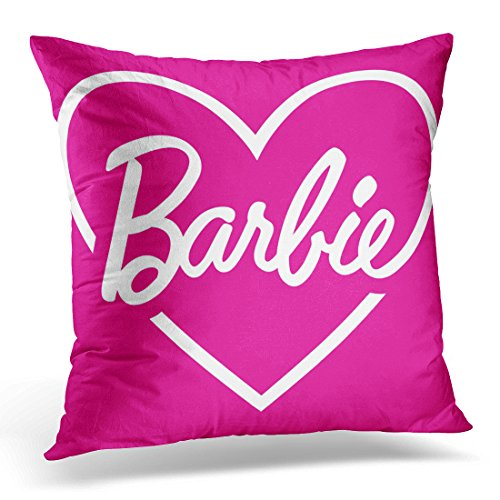VANMI Throw Pillow Cover Love Barbie Pink Heart Vintage Decorative Pillow Case Home Decor Square 20x20 Inches Pillowcase