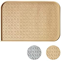 "WooPet! Dog Feeding Mat 24""x16"" Beige Extra Large, Premium Silicone Food Safe Dog or Cat Food Mat"
