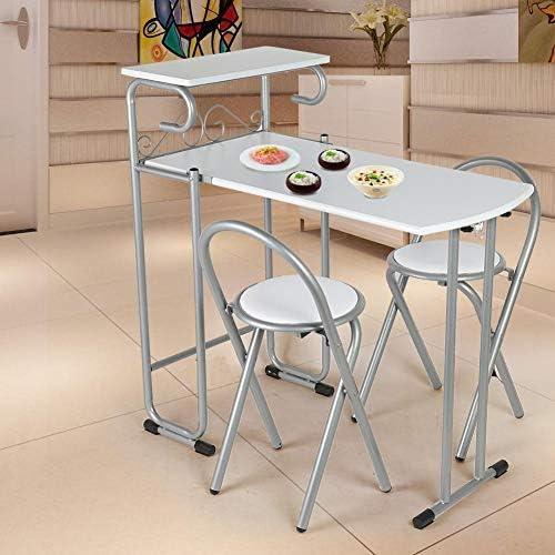 Juego de Mesa y Sillas Plegable de Comedor 3 Piezas Mesa Auxiliar de Cocina, Acero y MDF: Amazon.es: Hogar