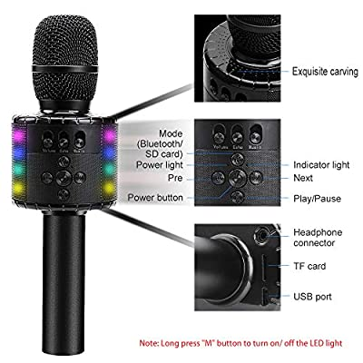 BONAOK Wireless Bluetooth Karaoke Microphone with Controllable LED Lights, Portable Handheld Karaoke Speaker Machine Birthday  Home Party for Android/iPhone/PC or All Smartphone(Q78 Black): Musical Instruments