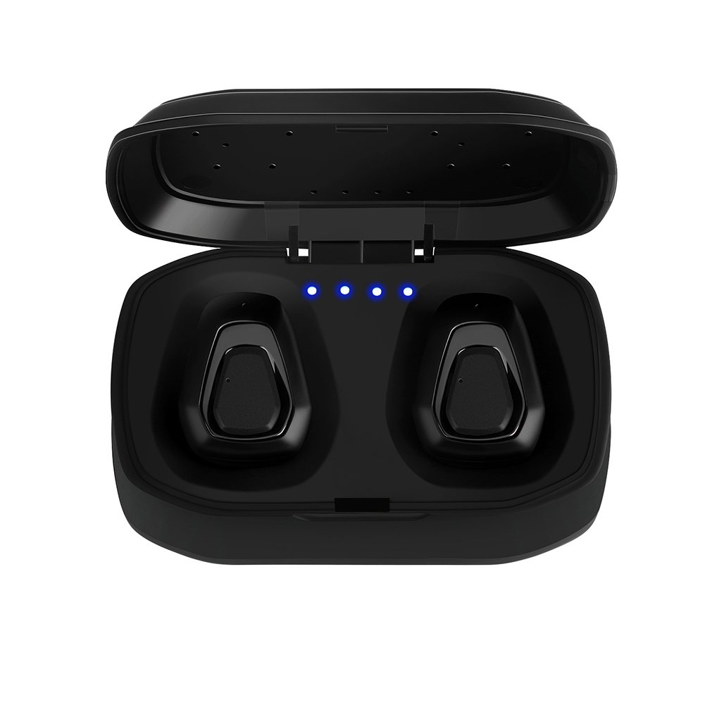 Wireless Headphones, Vacio Noise Cancelling Wireless Sports Earphones with Charging Box Sweatproof Mini Headset for All Bluetooth Device for Running/Black