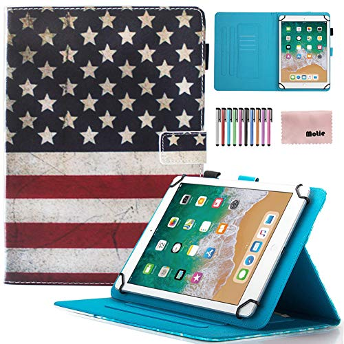 9.5-10.5 inch Universal Case, Motie PU Leather Magnetic Closure Case Cover Flip Stand Protective Shell Case for New iPad 9.7, Air 1 2,Amazon Fire HD 10,Samsung Tab A E S4,Asus, US Flag (10 1 Case Asus Tablet)