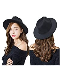 Black Wide Brim Wool Fedora Flat Hat Church Cap for Women Man Spring Autumn Winter Outdoor