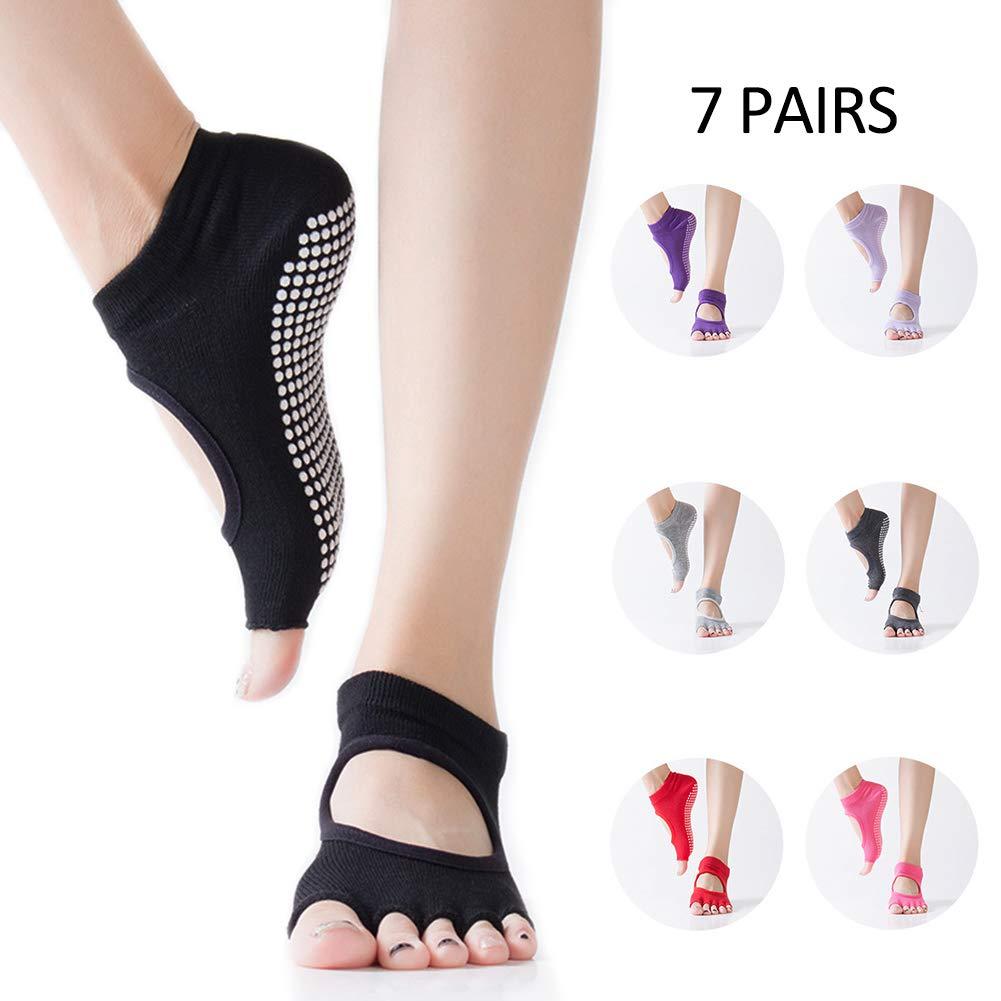 Yoga Socks Toeless Non-Slip Open Back with Half Toe Grip for Ballet, Yoga, Pilates, Barre Toe Socks, 7 Pairs