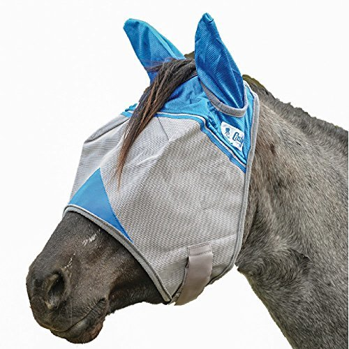 Cashel Crusader Standard Fly Mask with Ears and Blue Trim, Benefit Wounded Warriors - Size: Horse - Trim Gauze