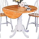 Cheap Damen Round Pedestal Drop Leaf Table Natural Brown and White