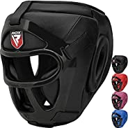 RDX Headguard for Boxing MMA Training, Maya Hide Leather Head Guard with Removable Face Grill, Cheeks Ear Mout