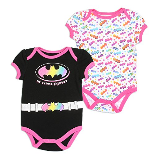 (Batgirl DC Comics Baby Girls Creeper 2-Pack, Black)