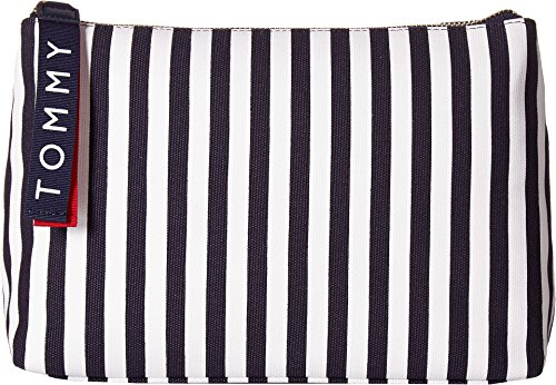 Tommy Hilfiger Women's Tommy Bottom Bicolor Canvas Pouch Navy/White One Size