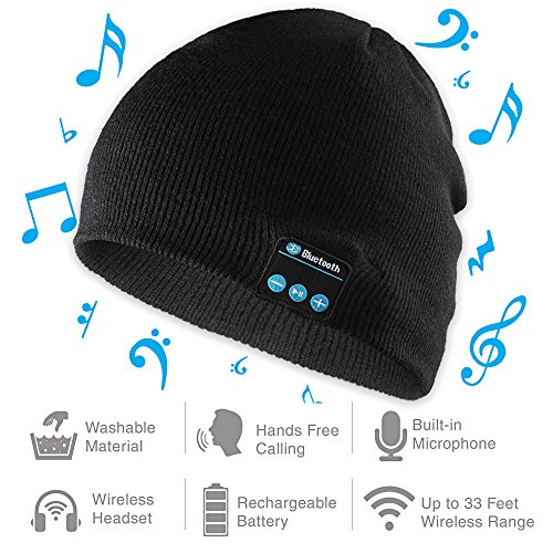Bluetooth Beanie Hat, Wireless Musical Headphones Cap, Winter Sport Knit Hat Slouchy Skully beanie with Musical Headset Speaker Headphones Mic for Teen Young Boys Girls Women Men Stylish Gift(Black)