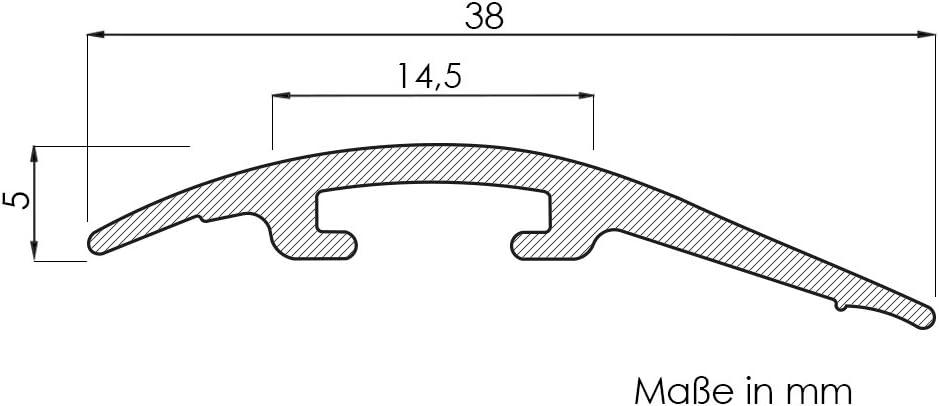 f/ür 4-14 mm H/öhenunterschied Laminat-Ausgleichsschiene Eiche Bernstein 900 mm